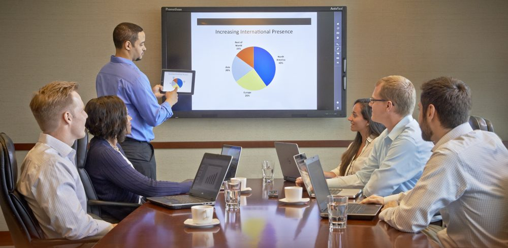 Businessmeeting with 6 people, where content from the tablet to the display are mirrored. A winning solution for your business, the Promethean ActivPanel Interactive Flat Panel combines the power of optical touch panel and multimedia connectivity to maximize your presentations